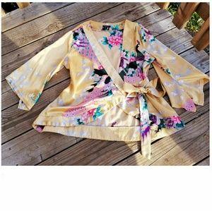 Stunning Gold Satin Asian Kimono Peacock Wrap Top